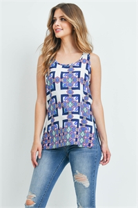 C56-A-2-T2229 WHITE NAVY PRINT TOP 2-2-2