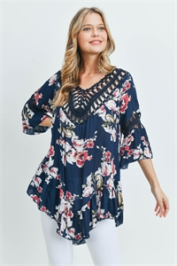 S14-1-1-T772 NAVY WITH FLOWER TOP 3-3