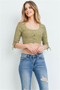 S12-3-4-T1224 MUSTARD FLORAL TOP 3-2-1