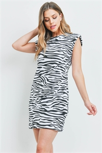S22-13-2-D646 WHITE BLACK ZEBRA DRESS 1-2-1