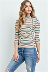 C52-A-1-T5631 MULTI STRIPES TOP 2-2-2