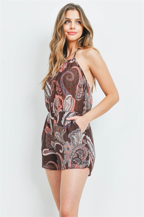 S13-12-3-R1877 BROWN PAISLEY ROMPER 2-2-2