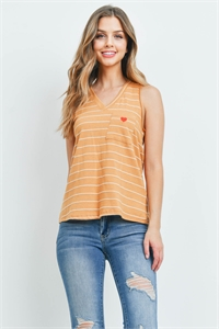 C52-A-3-T44991 MUSTARD WHITE STRIPES TOP 3-2-1