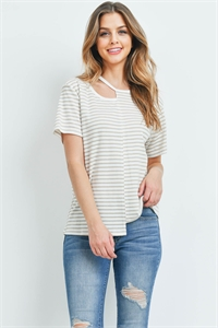 C54-A-1-T3923 IVORY TAUPE STRIPES TOP 3-2-1
