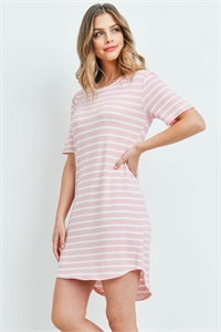 C22-A-2-D50877 MAUVE IVORY STRIPES DRESS 2-2-2