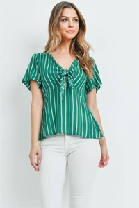 C28-A-1-T72325 GREEN STRIPES TOP 1-2-2