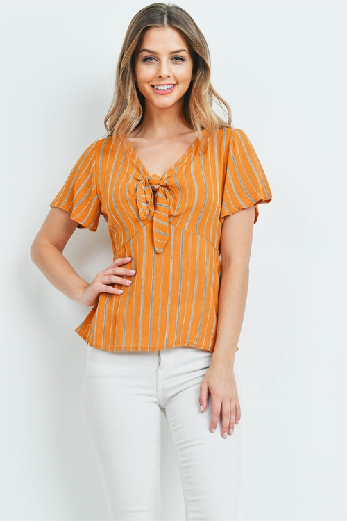 C28-A-1-T72325 MUSTARD STRIPES TOP 2-3-2