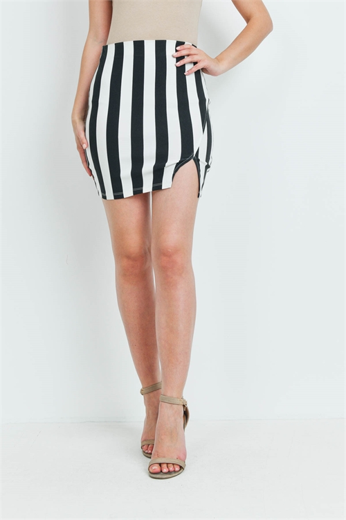 C36-B-2-S92781 IVORY BLACK STRIPES SKIRT 2-2-2