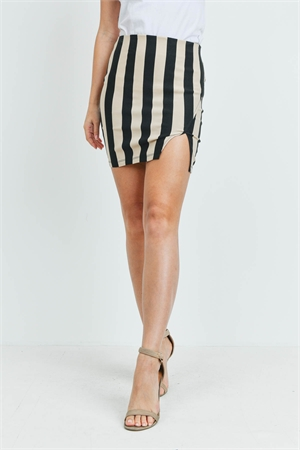 C40-B-1-S92781 TAUPE BLACK STRIPES SKIRT 2-2-2
