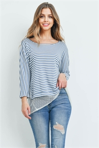 C84-A-1-T72115 INDIGO IVORY STRIPES TOP 2-2-2