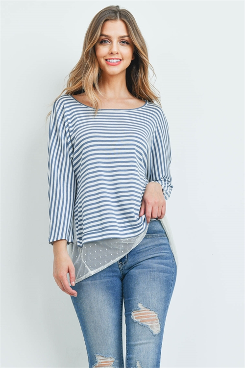 C80-A-1-T72115 INDIGO IVORY STRIPES TOP 1-3-3