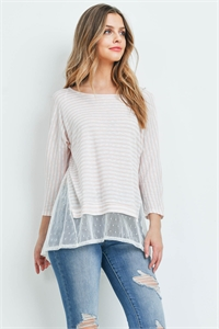 C86-A-1-T72115 PEACH IVORY STRIPES TOP 2-2-2