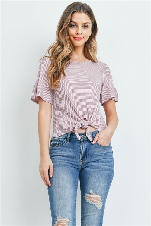 C90-A-2-T701428 WHITE MAUVE STRIPES TOP 2-2-2