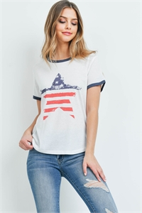 S10-15-2-T701 IVORY AMERICAN FLAG STAR PRINT TOP 2-2-2