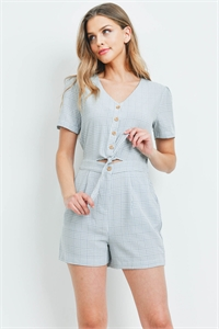 S8-7-2-R00601 GRAY CHECKERED ROMPER 1-2-2-1