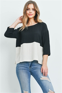 S15-11-3-T00244 BLACK CREAM TOP 1-2-1