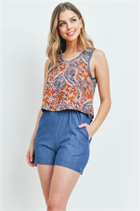 S15-11-3-R00391 RUST DENIM ROMPER 1-2-1