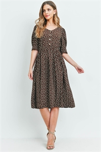 S9-15-2-D00891 BROWN PRINT DRESS / 3PCS