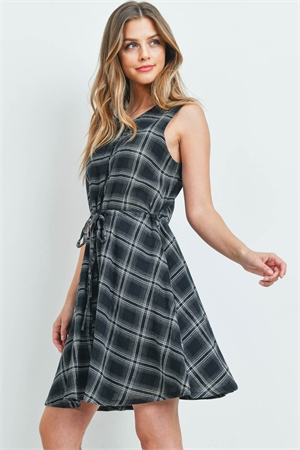 S5-1-3-D00446 BLACK CHECKERED DRESS 1-2-2-1