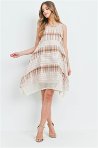 S15-11-2-D00197 CREAM BROWN DRESS 1-2-1
