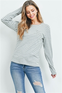 S12-2-3-T00466 GRAY STRIPES TOP 1-2-2-1