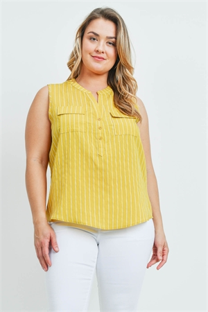 SA4-0-4-T10036X YELLOW STRIPES PLUS SIZE TOP 2-2-2