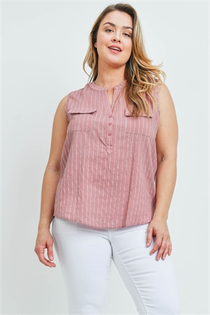 SA4-00-4-T10036X DARK MAUVE STRIPES PLUS SIZE TOP 2-2-2