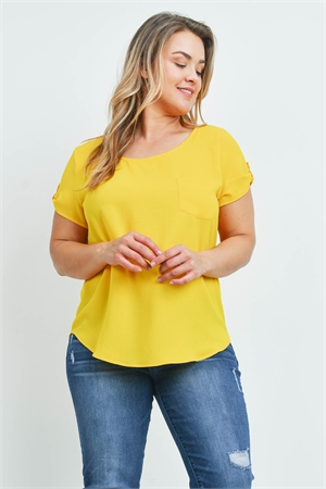 S8-8-4-T10235X YELLOW PLUS SIZE TOP 2-2-2