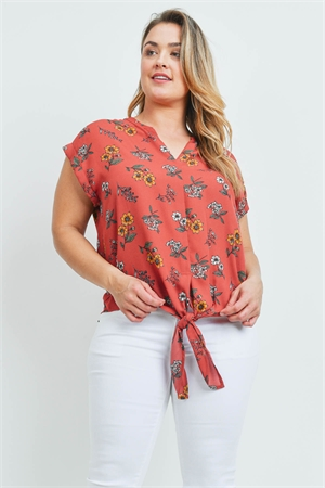 S12-5-4-T10093X RUST FLORAL PLUS SIZE TOP 2-2-2