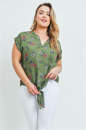 S12-5-4-T10093X GREEN FLORAL PLUS SIZE TOP 2-2-2