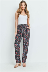 S12-10-2-P7210 BLACK RED FLORAL PANTS 2-2-2