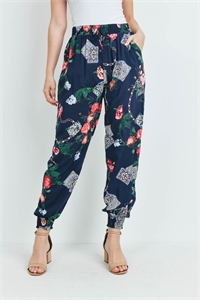 SA3-4-3-P7149 NAVY RED PRINT PANTS 2-2-2