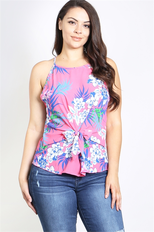 C66-A-1-T29857X PINK BLUE PRINT PLUS SIZE TOP 2-2-2