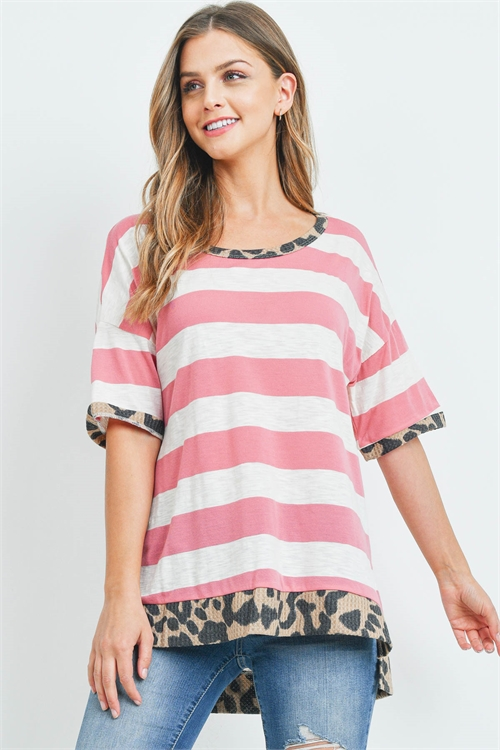 C4-A-2-T9463 IVORY PINK STRIPES TOP 2-2-2