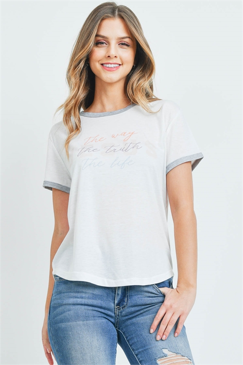S10-20-1-T701 IVORY THE WAY THE TRUTH THE LIFE PRINT TOP 2-2-2