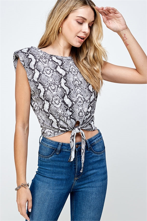 C72-B-1-WT2396 GRAY SNAKE PRINT TOP 2-2-2