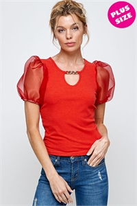 C6-A-2-WT2399X RED PLUS SIZE TOP 2-2-2