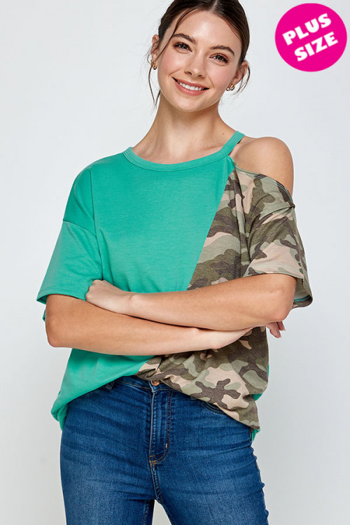 C10-A-1-WT2415X JADE OLIVE CAMOUFLAGE PLUS SIZE TOP 2-2-2