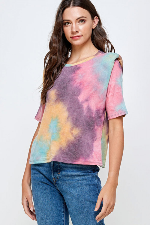 C20-B-1-WT2366 MUSTARD PURPLE TIE DYE TOP 2-2-2
