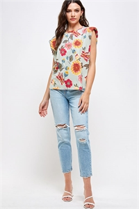 C28-B-2-WT2335 SAGE FLOWER PRINT TOP 2-2-2