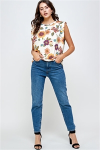 C28-B-2-WT2335 IVORY FLOWER PRINT TOP 2-2-2