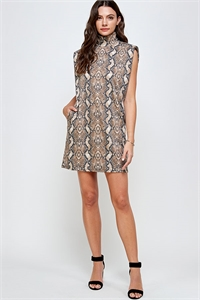 C38-A-2-WD4377 BROWN SNAKE PRINT DRESS 2-2-2
