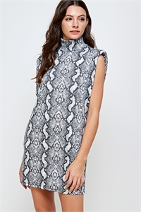 C38-A-2-WD4377 GRAY SNAKE PRINT DRESS 2-2-2