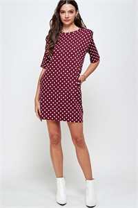 C40-A-1-WD4366 MAROON POLKA DOT DRESS 2-2-2