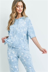 S5-1-3-SET842 BLUE STAR PRINT TOP & PANTS SET 2-2-2