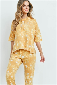 S5-1-3-SET842 YELLOW STAR PRINT TOP & PANTS SET 2-2-2