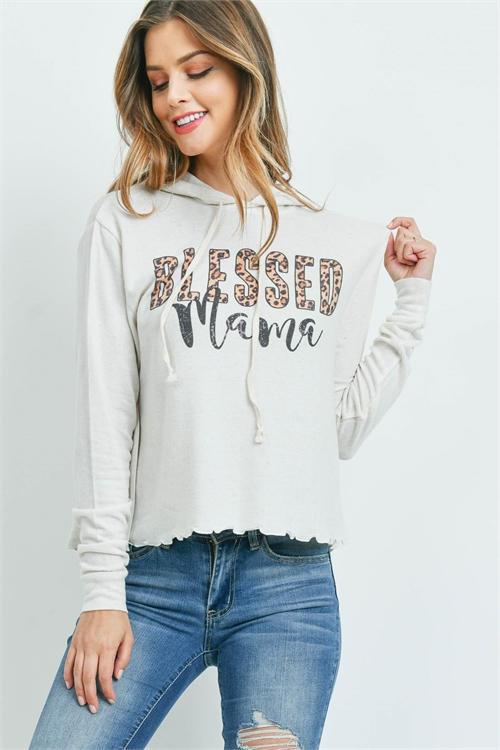 "S10-14-4-T512 BEIGE ""BLESSED MAMA"" PRINT TOP 1-1-1-1-1"