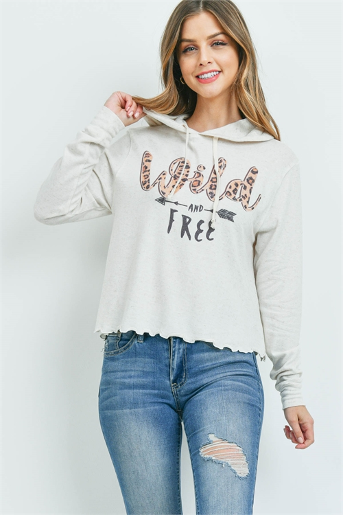 "S11-11-1-T512 BEIGE ""WILD AND FREE"" PRIT TOP 1-1-1-1-1"