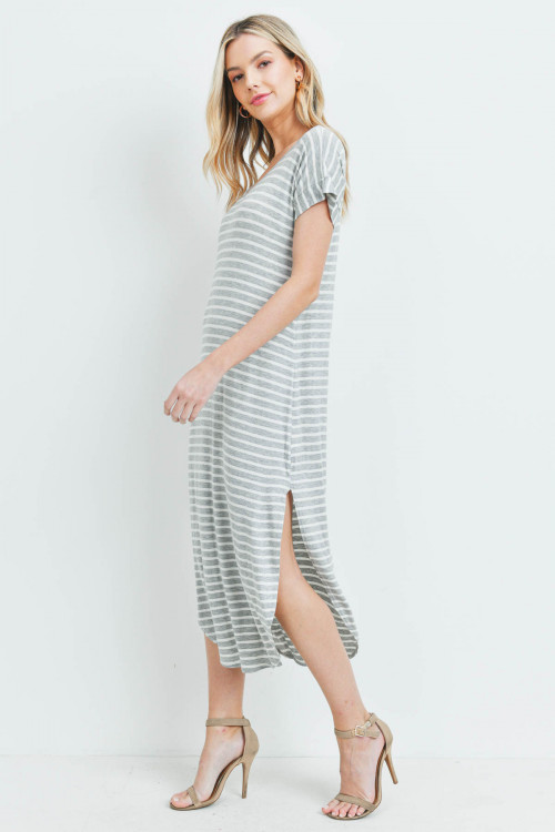 C62-A-1-D15432 GRAY IVORY STRIPES DRESS 2-1