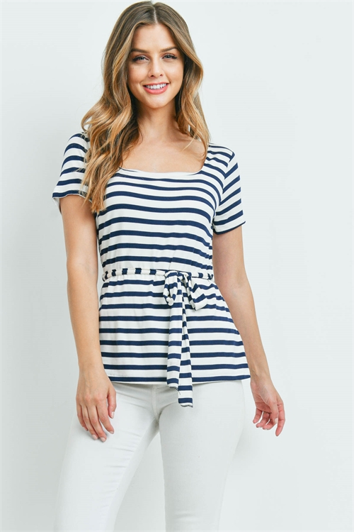 C74-A-1-T8891 IVORY NAVY STRIPES TOP 2-2-2